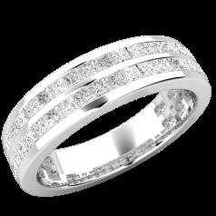 Verigheta cu Diamant/ Inel Eternity Dama Aur Alb 18kt cu Doua Randuri de Diamante Mici Taietura Princess in Setare Canal
