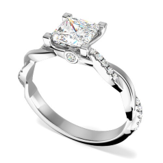 Inel de Logodna Solitaire cu Diamante Mici pe Lateral Dama Aur Alb 18kt cu un Diamant Princess si Diamante Rotunde, Design Impletit