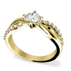 Inel de Logodna Solitaire cu Diamante Mici pe Lateral Dama Aur Galben 18kt cu Diamant Central Rotund Brilliant