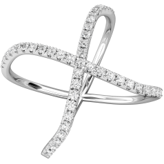 Inel Cocktail cu Diamante Dama Aur Alb 18kt cu Briliante Rotunde, cu Aspect Modern