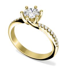 Inel de Logodna Solitaire cu Diamante Mici pe Lateral Dama Aur Galben 18kt cu Diamant Central Rotund Brilliant si Diamante Mici pe Lateral,Setare Gheare