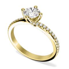Inel de Logodna Solitaire cu Diamante Mici pe Lateral Dama Aur Galben 18kt cu Diamant Central Rotund Briliant in Montura Rasucita