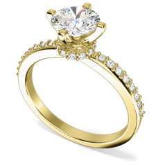 Inel de Logodna Solitaire cu Diamante Mici pe Lateral Dama Aur Galben 18kt cu Diamant Central Rotund Brilliant,Setare Gheare