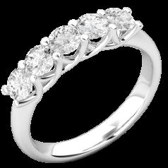 RD828W-Inel de Logodna cu Mai Multe Diamante Dama Aur Alb 18kt cu 5 Diamante Forma Rotund Briliant,Stil Elegant