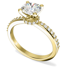 Inel de Logodna Solitaire cu Diamante Mici pe Lateral Dama Aur Galben 18kt cu un Diamant Rotund Briliant si Diamante Rotunde pe Lateral
