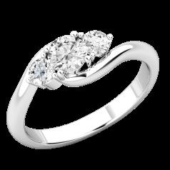 Inel cu 3 Diamante Dama Aur Alb 18kt cu 3 Briliante Rotunde, Stil Twist