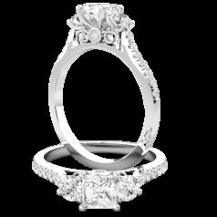 RD849W-Inel de Logodna cu 3 Diamante Dama Aur Alb 18kt, cu un Diamant Princess si 2 Diamante Rotund Brilliant in Partea Centrala si Diamante Mici Rotund Briliant pe Lateral