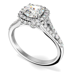 Inel de Logodna cu Diamante Dama Aur Alb 18kt cu Diamante Rotunde Briliant Stil Halo, si un Diamant Central Cushion