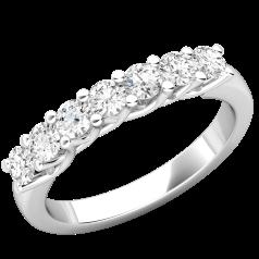 Inel Semi Eternity Platina Cu 7 Diamante in Setare Clasica cu Gheare