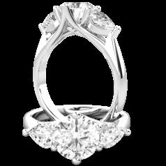 RD884W-Inel de logodna/Inel cu 3 Diamante Dama Aur Alb 18kt cu un Diamant Rotund Brilliant si 2 Diamante in Forma de Pere,in Setare Gheare