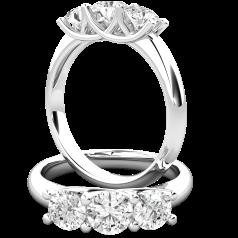 RD887W-Inel de Logodnă Damă,Aur Alb 18kt cu Diamante din 3 Pietre,care prezintă un Trio de Diamante Rotunde Strălucitoare,Rotund Brilliant,toate ținute frumos în loc,cu un Decor Clasic cu 4 Gheare