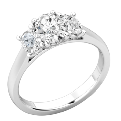 RD892W-Inel de Logodna cu 3 Diamante Dama Aur Alb 18kt cu 3 Diamante Oval,Setare Gheare