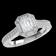 Inel de Logodna cu Diamante Dama Aur Alb 18ct cu un Diamant central Forma Smarald si Halo de Briliante Rotunde