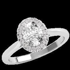 Inel Logodna cu Diamante Dama Aur Alb 18ct Stil Halo cu un Diamant Oval Inconjurat de Briliante Stralucitoare