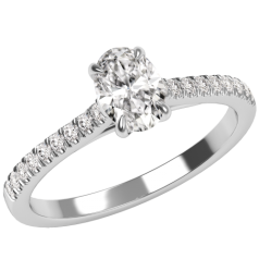 Inel de Logodna Solitaire cu Diamante Mici pe Lateral Damă,Aur Alb 18kt cu un Diamant Central in Forma Ovala