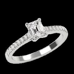 Inel de Logodna Solitaire cu Diamante Mici pe Lateral Dama,Aur Alb 18kt cu Diamant Central Forma Smarald si Diamante Rotund Briliant Mici