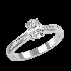 Inel de Logodna Solitaire cu Diamante Mici pe Lateral Damă, Aur Alb 18kt cu Diamant Oval in Gheare si Briliante Rotunde in Setare Canal