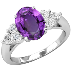 Inel cu Ametist si Diamant Dama Aur Alb 18kt cu Ametist Oval si 3 Diamante Rotund Briliant pe Fiecare Parte
