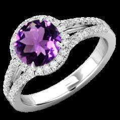 RDAM747W- Inel cu Ametist si Diamante Dama Aur Alb 18kt cu Ametist si Diamante Rotund Briliant Setate cu Gheare, Stil Halo