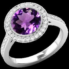Inel Dama Aur Alb 18kt cu Ametist si Diamante, Stil Halo