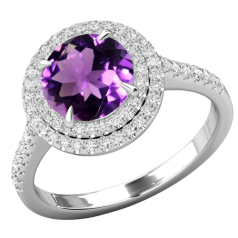 RDAM777W-Inel cu Ametist si Diamant Dama Aur Alb 18kt cu un Ametistt Rotund Inconjurat de 68 Diamante Rotund Briliant, Stil Halo