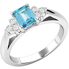 Inel cu Acvamarin si Diamant Dama Aur Alb 18kt cu un Acvamarin si Diamante Rotund Briliant pe Margini