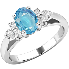 Inel cu Acvamarin si Diamant Dama Aur Alb 18kt cu Acvamarin Oval si 3 Diamante Rotund Briliant pe Fiecare Parte