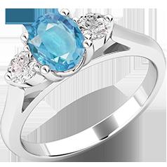 Inel cu Acvamarin si Diamant Dama Aur Alb 18kt cu un Acvamarin Oval si Diamante Rotund Briliant pe Margini