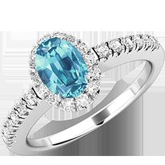 Inel Acvamarin si Diamante Dama Aur Alb 18kt cu un Acvamarin Oval si Diamante Rotunde