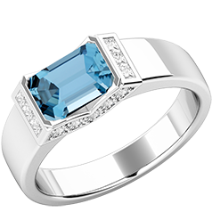 Inel Dama Aur Alb 18kt cu Acvamarin si Diamante