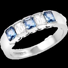 Inel cu Acvamarin si Diamant Dama Aur Alb 18kt cu 5 Pietre