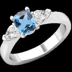 RDAQ713W-Inel cu Acvamarin si Diamante Dama Aur Alb 18kt un Acvamarin Oval si 2 Diamante Forma Para pe Margini