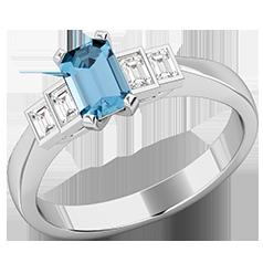 RDAQ717W-Inel cu Acvamarin si Diamant Dama Aur Alb 18kt cu un Acvamarin Taietura Smarald si 4 Diamante Forma Bagheta,in Setare Rub-Over