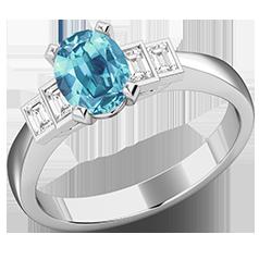 RDAQ718W-Inel cu Acvamarin si Diamante Dama Aur Alb 18kt cu 4 Diamante, cu un Acvamarin Central Oval si Diamante Forma Bagheta pe Margini