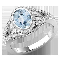 Inel cu Acvamarin si Diamante Dama Aur Alb 18kt Stil Cluster cu Diamante pe Margini