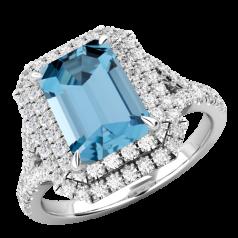 RDAQ742W-Inel cu Acvamarin si Diamante Dama Aur Alb 18kt cu Acvamarin Central Taietura Smarald si Diamante Mici Rotund Briliant Imprejur si pe Lateral