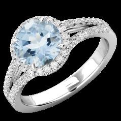 Inel Dama Aur Alb 18kt cu Acvamarin si Diamante, Stil Halo
