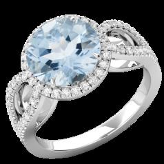 RDAQ748W-Inel cu Acvamarin si Diamante Dama Aur Alb 18kt,un Acvmarin Rotund Briliant Setate cu Gheare si o Sina Superba Despicata