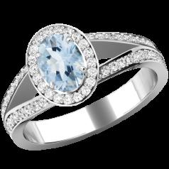 RDAQ774W-Inel cu Acvamarin si Diamante Dama Aur Alb 18kt cu un Acvamarin Central Oval si Diamante Mici Rotund Briliant Imprejur si pe Margini