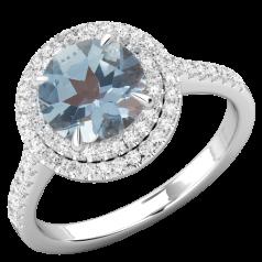 RDAQ777W-Inel cu Acvamarin si Diamant Dama Aur Alb 18kt cu un Acvamarin Rotund Inconjurat de 68 Diamante Rotund Briliant,Stil Halo