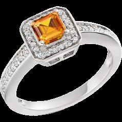 Inel Dama Aur Alb 18kt cu Citrin Auriu si Diamante, Stil Halo