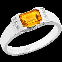 Inel Dama Aur Alb 18kt cu Citrin si Diamante