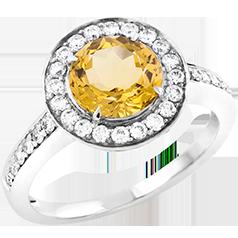 Inel Stil Cocktail Dama Aur Alb 18kt cu Citrin Auriu si Diamante