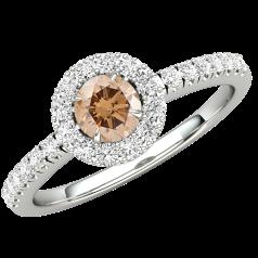 Inel de Logodna Solitaire cu Diamante Mici pe Lateral Dama Aur Alb 18kt cu un Diamant Central Rotund Maro Ciocolatiu si Diamante Mici pe Margini