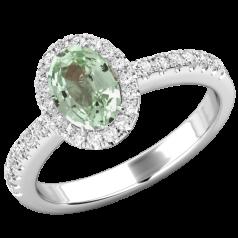 RDCH627W-Inel Chrysoberyl Verde si Diamante Dama Aur Alb 18kt,cu un Chrysoberyl Verde Oval si Diamante Rotunde