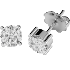 Diamond Stud Earrings in 18ct White Gold with Round Brilliant Cut Diamonds in a 4-Claw Setting
