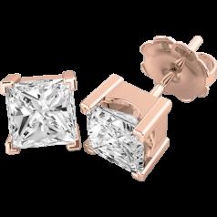 Cercei Tip Stud Aur Roz 18kt cu Diamant Princess Setat cu 4 Gheare