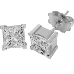 Diamond Stud Earrings in 18ct White Gold with Princess Cut Diamonds in a 4-Claw Setting