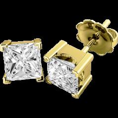 Cercei Tip Stud Aur Galben 18kt cu Diamant Princess Setat cu 4 Gheare