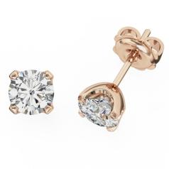 Cercei Tip Stud Aur Roz 18kt cu Diamant Rotund Briliant